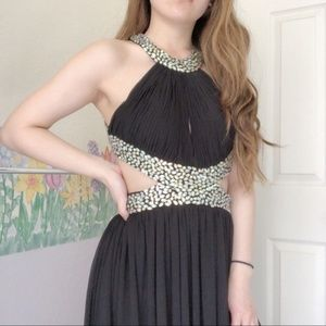 May Queen jeweled backless maxi padded prom dress